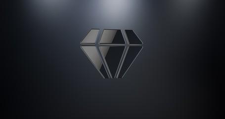 Diamond Gem Black 3d Icon