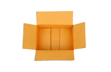open empty carton corrugated cardboard box isolated on white
