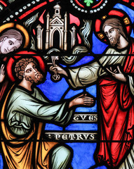 Wall Mural - Stained Glass - Jesus and Saint Peter