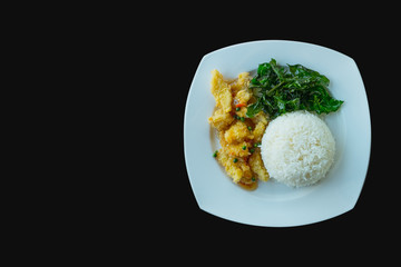 Stir Fried Chicken with Brazilian Leafs with cooked Rice