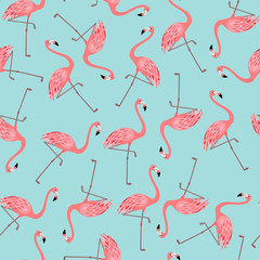 Seamless pattern with flamingo on blue background