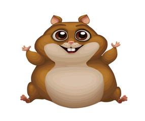 Cute vector illustration of fat hamster. Portrait of a chipmunk for decoration and design