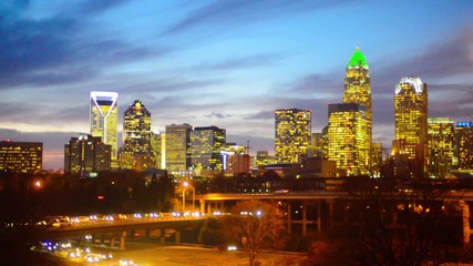 Fotomurales - charlotte city skyline north carolina sunset sunrise