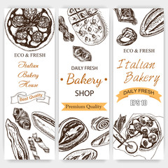 Vector illustration sketch. bread, loaf, baguette, focaccia, pizza. italian bakery house with fresh pastry.