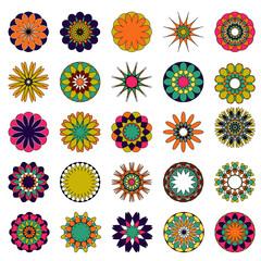 Vector mandalas. Colored mandala set.