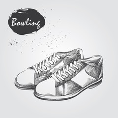 Hand drawn Bowling shoes sketch isolated on white background. Sport items in sketch style, vector illustration.