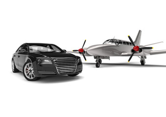 Private plane with a Luxury Car / 3D render image representing an private plane with a luxury car