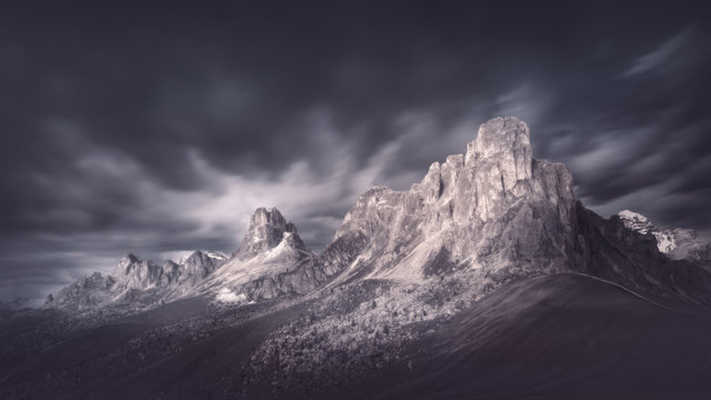 High mountain pass in dramatic atmosphere