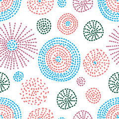 Line flowers. Around motif. Seamless pattern.