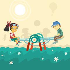 Children on swing Vector Illustration
