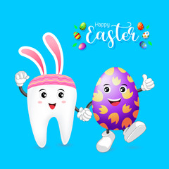 Cute tooth character with Easter egg. Hand in hand. Happy Easter concept, illustration.