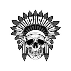 Skull of Native American Warrior. Vector Illustration