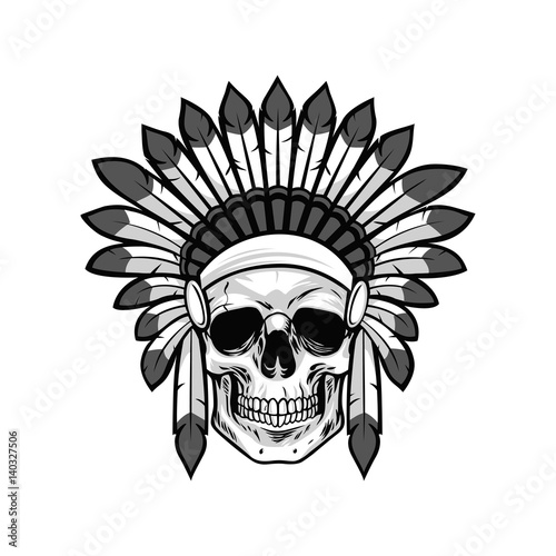 Skull Of Native American Warrior Vector Illustration Stock Image