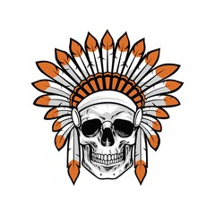 Indian Native American Skull Vector Illustration