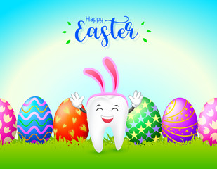 Bunny tooth character with eggs of Easter day. Dental Easter, illustration