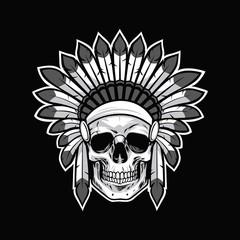Skull of Native American Indian Warrior. Black Background Vector