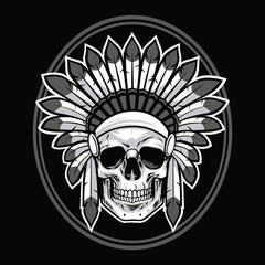 Skull of Native American Indian Warrior. Vector Illustration