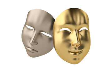 Gold and silver masks.3D illustration.