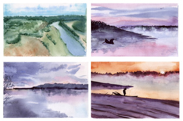 Set steppe river in Russia. Watercolor illustration.