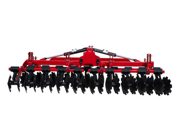 Tractor disc Harrow for preparing the ground. Isolated.