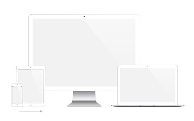 mockup gadget and device: smartphones, tablets, laptops and computer monitors with blank screen isolated on white background. stock vector illustration eps10