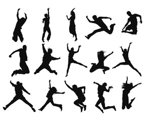 Jumping and Flying People Silhouettes