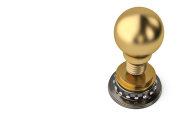 The gold light bulb trophy,3D illustration.