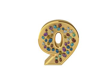 luxury golden alphabet with gemstone isolated on white background 3d illustration number 9