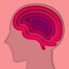Paper art brain layer cut