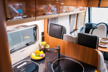 Interior of luxury caravan