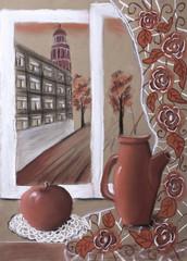"""Детский рисунок пастелью """"Натюрморт с кувшином и яблоком"""""""