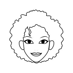 face of young pretty woman with curly hair icon image vector illustration design