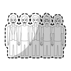 group of handsome young men icon image vector illustration design