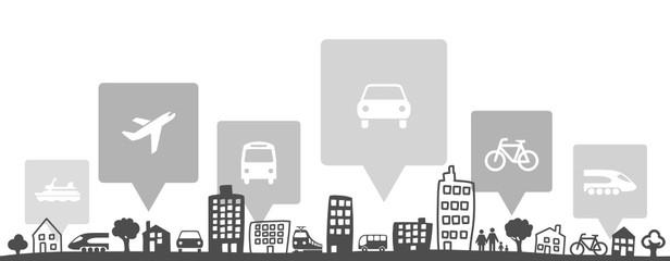 Silhouette Stadt Verkehr Fototapete