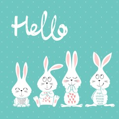 Card with cartoon rabbits in bright colors.