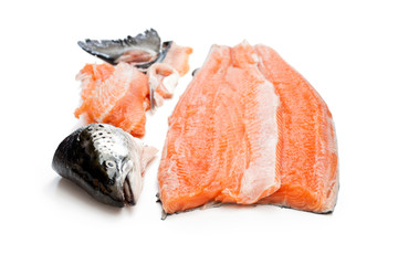 salmon  fillet with head and bones isolated on white background