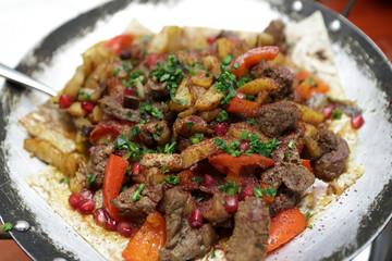 Saj kebab dish