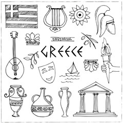 Hand drawn greece travel collection of icons