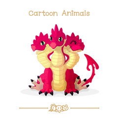 Toons series cartoon animals: Three headed red dragon