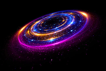 Glow effect. Glint galaxy. Abstract rotational universe. Power energy. Glare tape. Luminous ring. Neon lights cosmic abstract frame. Magic design round frame. Swirl trail effect. Elegant style.