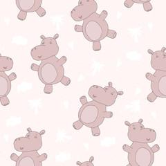 Cute hippo in cartoon style. pattern