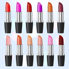 Fashion lipstick ads, colorful lipsticks arranged isolated on blue background, trendy cosmetic design for advertisement. Set of lipsticks