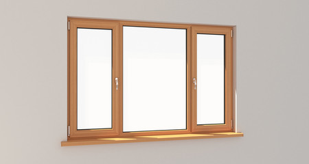 Window. White wall. Isolated window. Wooden window. 3d. 3D render.