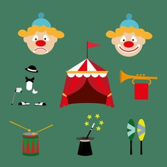 the attributes of a circus set. vector illustration