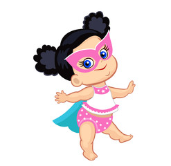 Illustration Super Hero Baby Girl. Vector illustration isolated on white background.