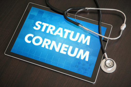 Stratum corneum (cutaneous disease related) diagnosis medical concept on tablet screen with stethoscope