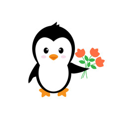 cartoon cute penguin with flowers