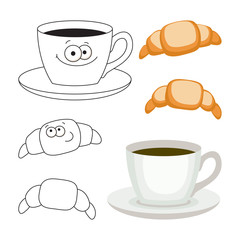 Cup of coffee and croissants set, vector illustration.
