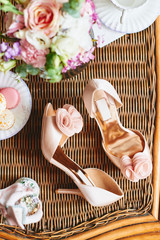 Beige wedding shoes close up top view