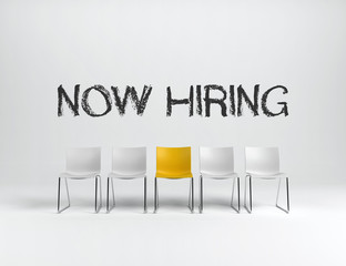 Empty chairs hiring concept